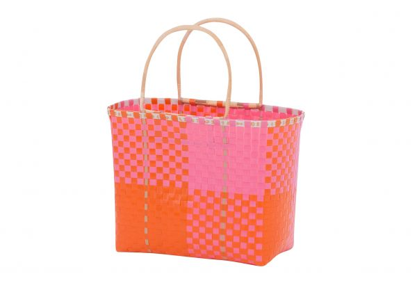 Overbeck and Friends Markttasche/Shopper Bambusgriff Ines pink-orange