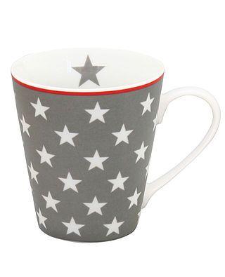 Tasse mit Henkeln und Sternen, dunkelgrau