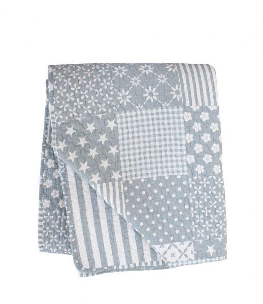Tagesdecke/Quilt im Patchwork-Design, grau