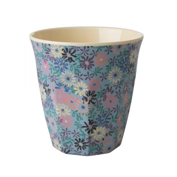 Becher Blumenmuster blau/rosa (Personalisierung möglich)